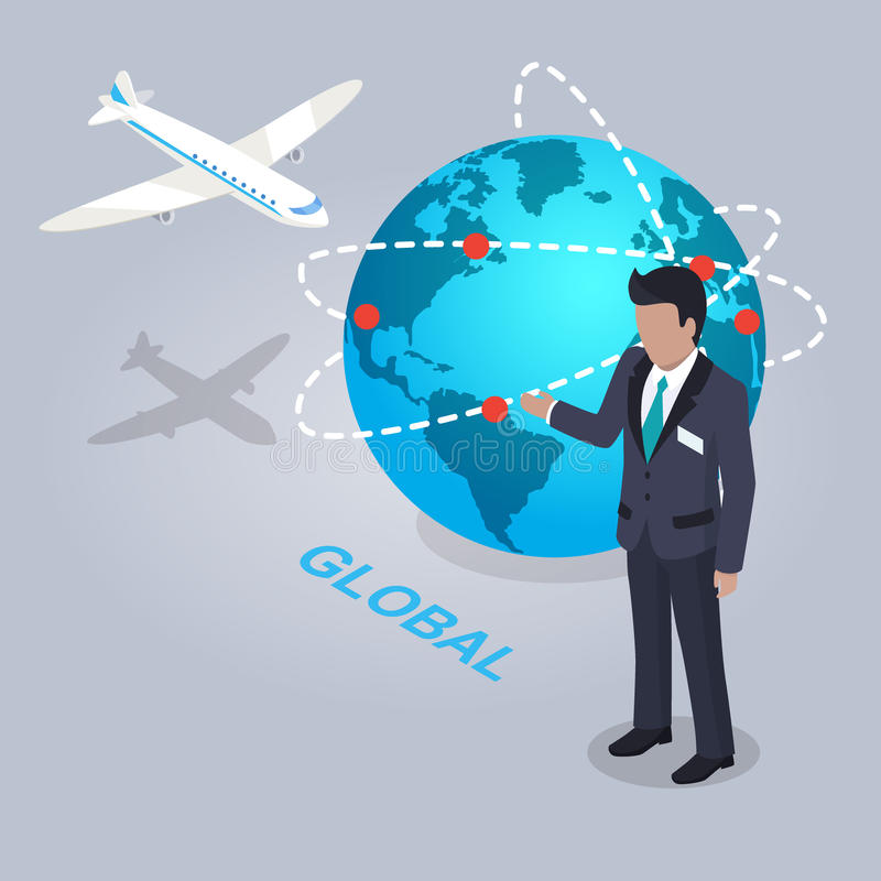 Global Electronic Commerce and Businessman Flat. Design on gray background. Shipping by air to all countries of planet. Man in business suit showing scale stock illustration