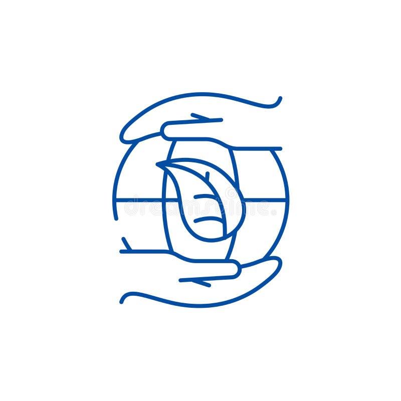 Global energi - besparingteknologier fodrar symbolsbegrepp Global energi - sparande plant vektorsymbol för teknologier, tecken, ö vektor illustrationer