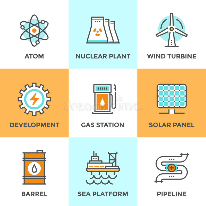Global energy sources line icons set vector illustration
