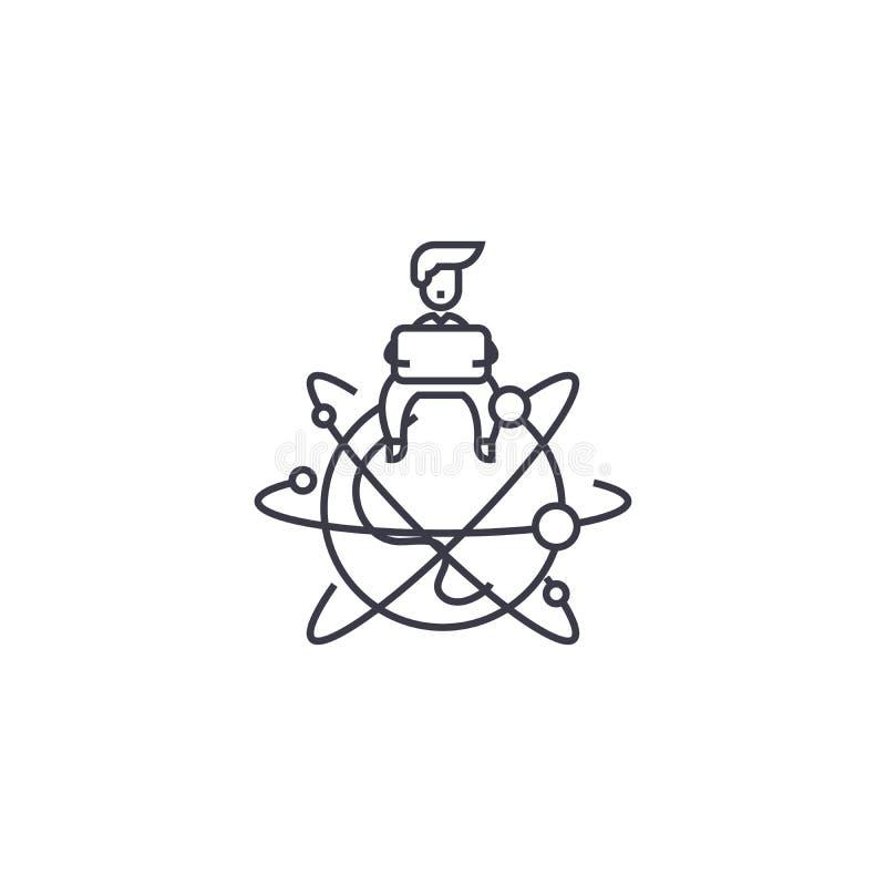 Global entrepreneur vector line icon, sign, illustration on background, editable strokes. Global entrepreneur vector line icon, sign, illustration on white stock illustration
