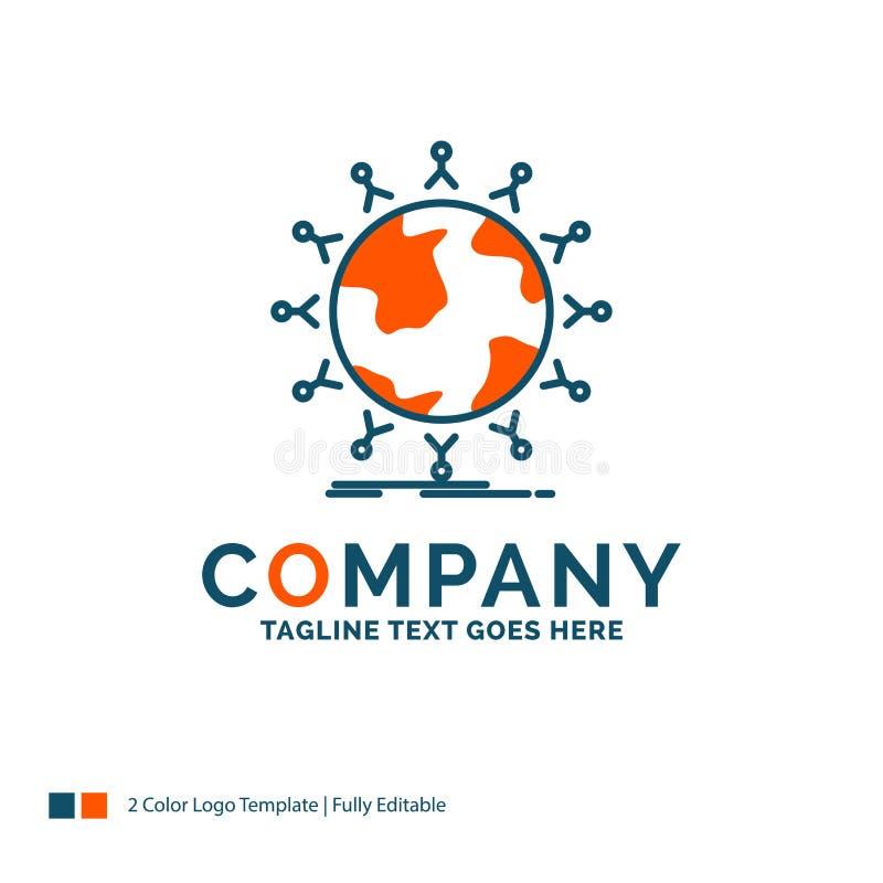 global, estudante, rede, globo, crianças Logo Design Azul e oran ilustração royalty free