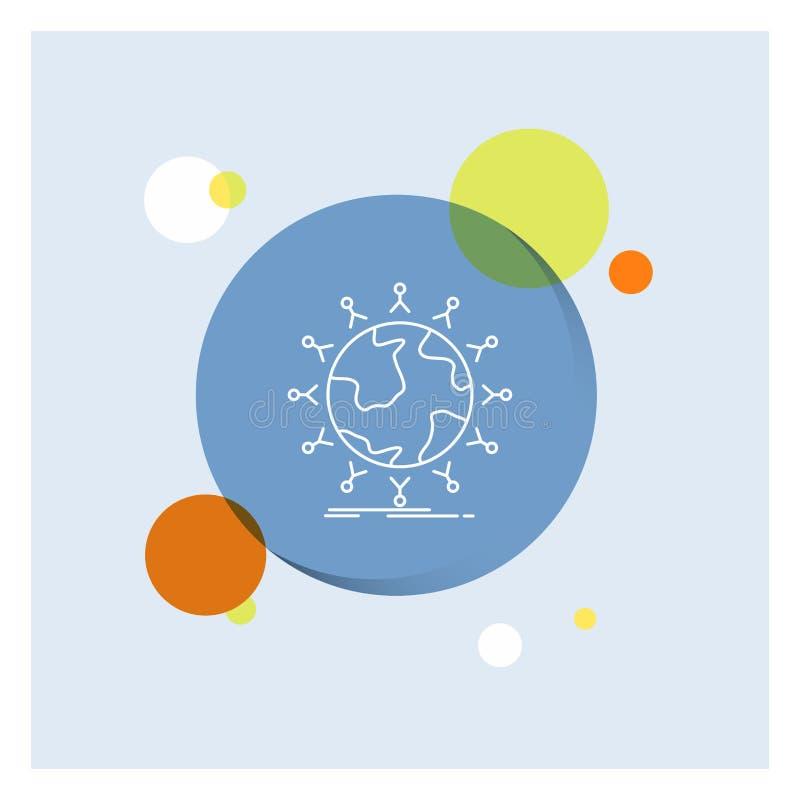 global, estudante, rede, globo, linha branca fundo colorido das crianças do círculo do ícone ilustração royalty free