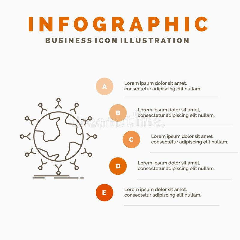 global, estudante, rede, globo, molde de Infographics das crian?as para o Web site e apresenta??o Linha ?cone cinzento com infogr ilustração do vetor