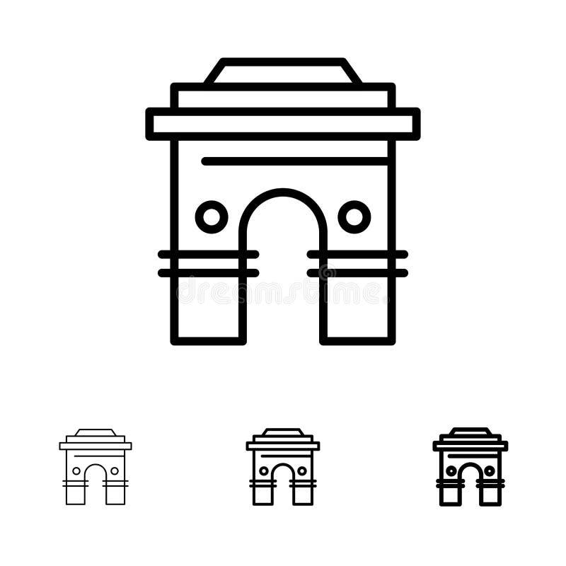 Global, för Hinduism, Indien, för indier, Sri Lanka, för tempel satt en klocka på och tunn svart linje symbolsuppsättning för kul vektor illustrationer