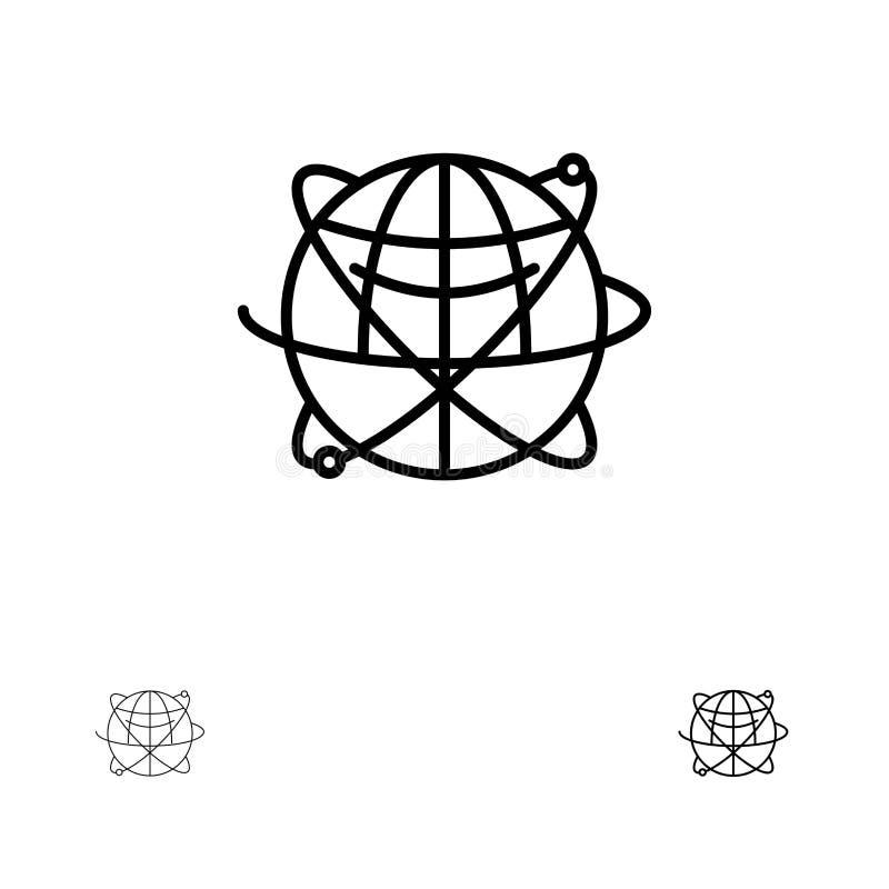 Global, för internet, för resurser, för värld satt en klocka på och tunn svart linje symbolsuppsättning för jordklot, för affär,  stock illustrationer