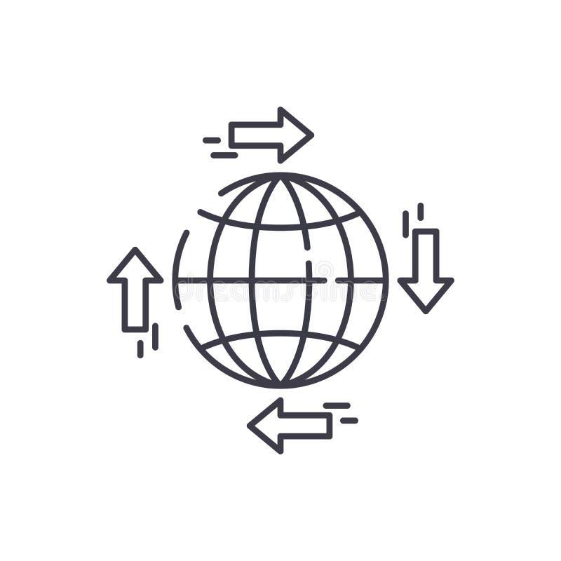 Global fördelningslinje symbolsbegrepp Linjär illustration för global fördelningsvektor, symbol, tecken royaltyfri illustrationer