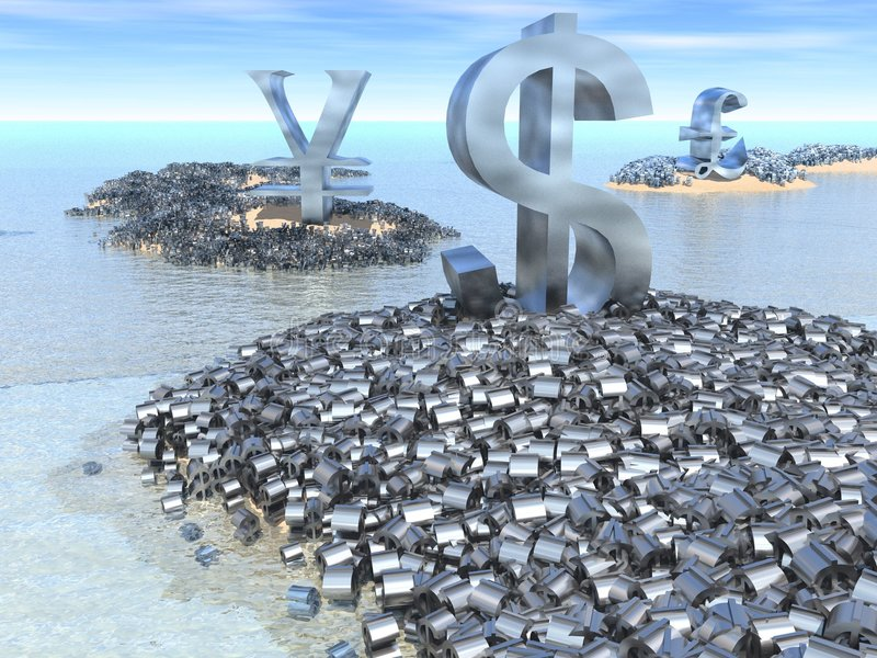 Global Finance. Giant dollar, yen and pound symbols sit on their land masses surrounded by a mass of smaller currency symbols