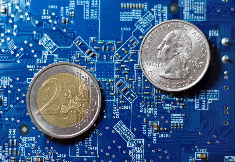 Global finance technology. Dollar and euro coins on blue microcircuit background royalty free stock photography