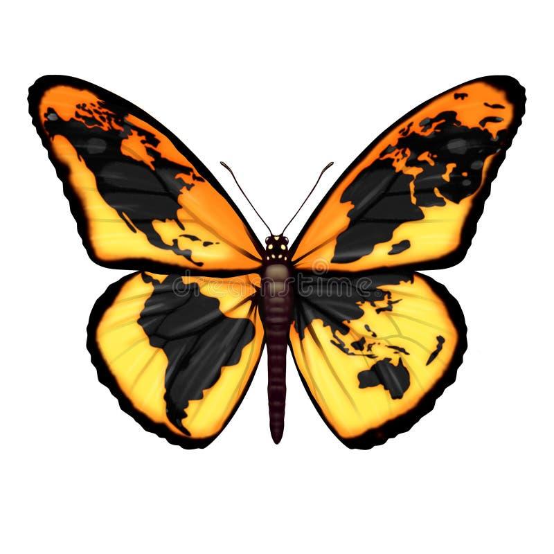 Global fjäril royaltyfri illustrationer