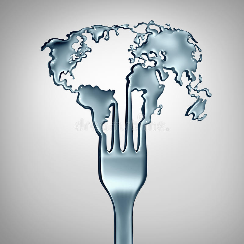 Global Food Concept. And world cuisine symbol as a metal fork shaped as the planet earth as a metaphor for international restaurant meals or appetite and hunger vector illustration