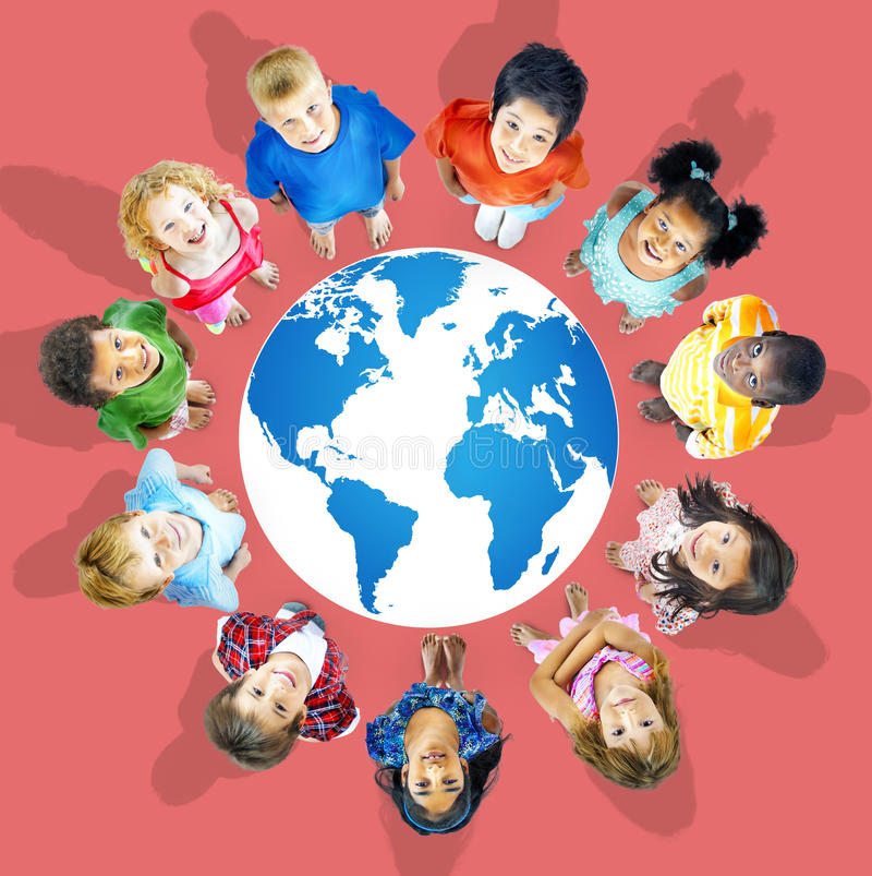 Global globaliseringvärldskarta miljö- Concservation Conce arkivbild