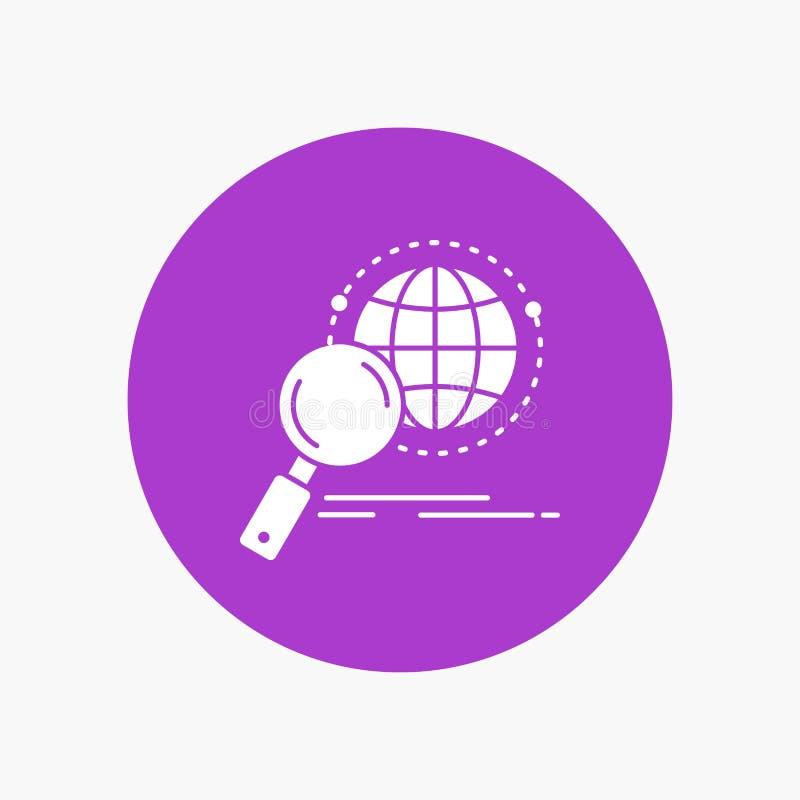 global, globo, lente de aumento, pesquisa, ícone branco do Glyph do mundo no círculo Ilustra??o do bot?o do vetor ilustração stock