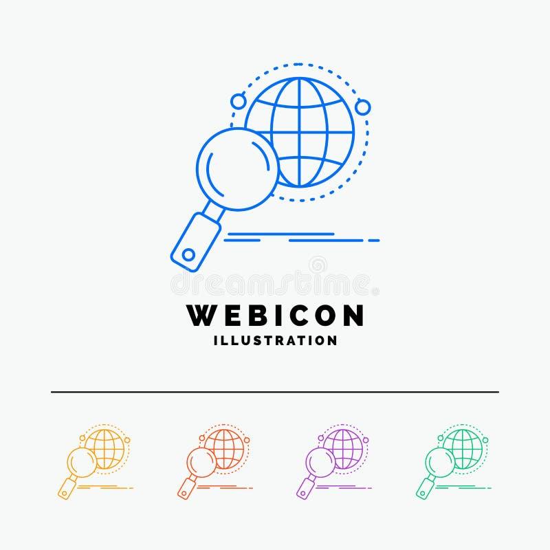 global, globo, lente de aumento, pesquisa, linha de cor molde do mundo 5 do ícone da Web isolado no branco Ilustra??o do vetor ilustração stock
