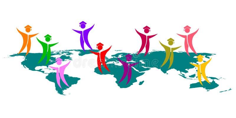 Global graduates. Illustration of global graduates design isolated on white background stock illustration