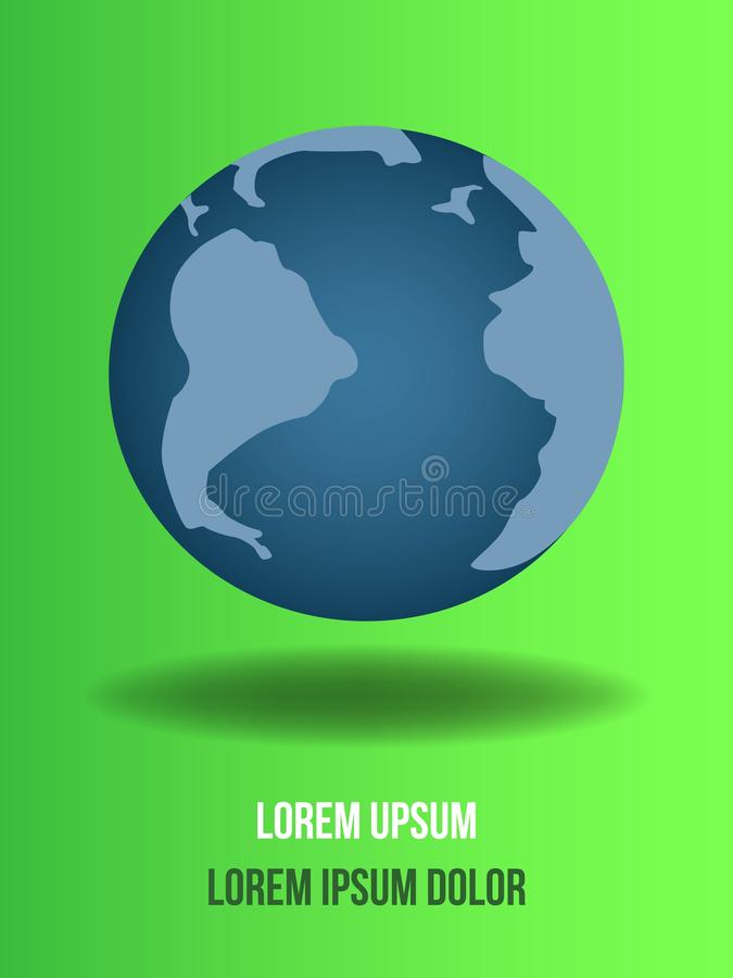Global on green background. Go Green Ecology Background for Environmental Respect Posters stock illustration
