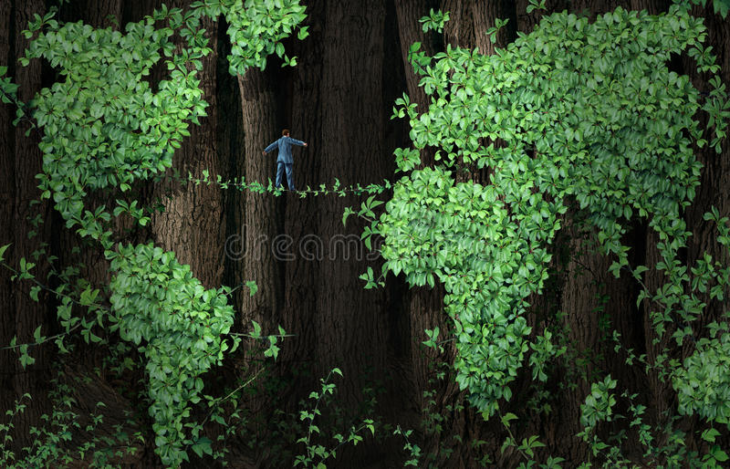 Global Growth Risk. Business concept as a businessman walking on a tightrope made from plant vines in a background of forest tree leaf vine shaped as a world stock illustration