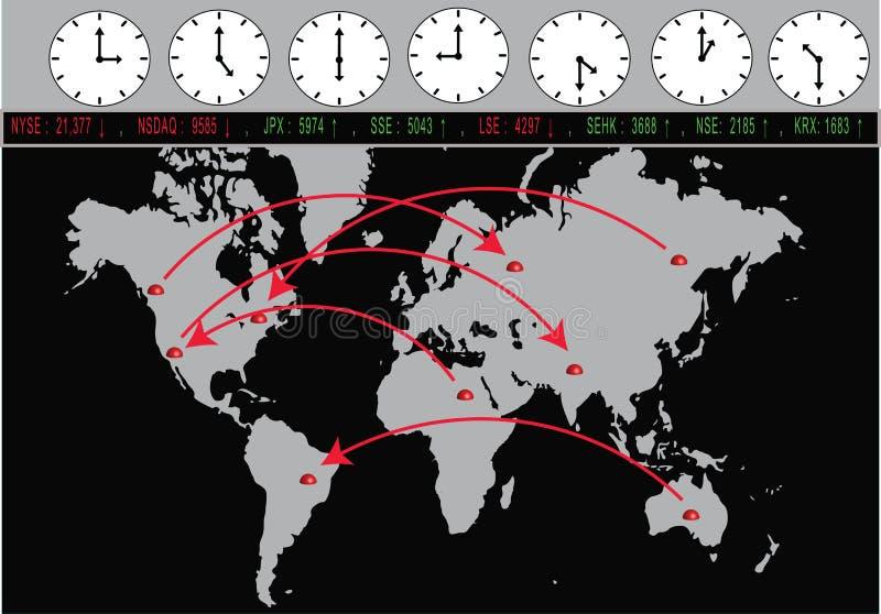 Global handel med utbyten och tidszoner stock illustrationer