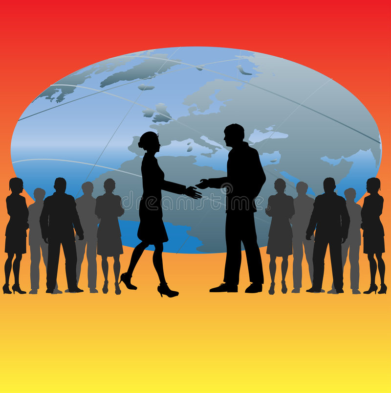 Global Handshake. Illustration of a set of business people shaking hands against an image of the globe vector illustration