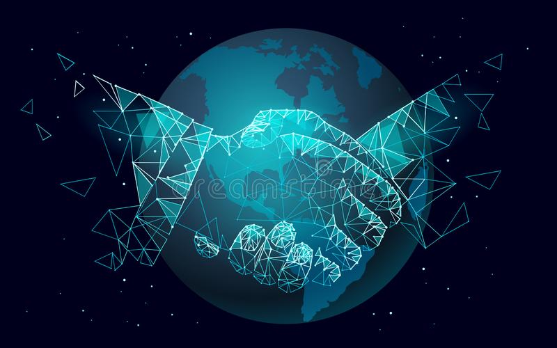Global handshake business agreement. Low poly polygonal triangle professional work planet Earth partnership. Office royalty free illustration
