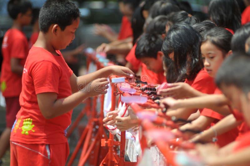 Global Handwashing dag i Indonesien arkivfoto