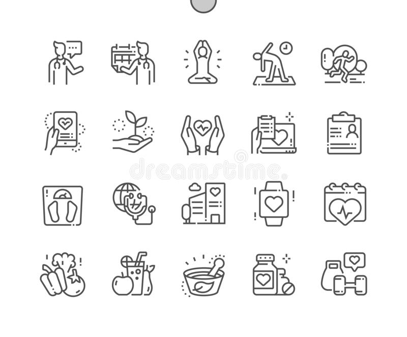 Global Health Care Well-crafted Thin Line Icons stock photography