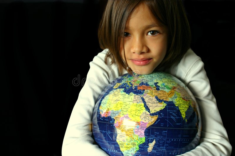 Global Hold 2. Portrait of a sweet little girl embracing a globe on black. Fit for global embrace, global hold, global security,young world, world vision, my