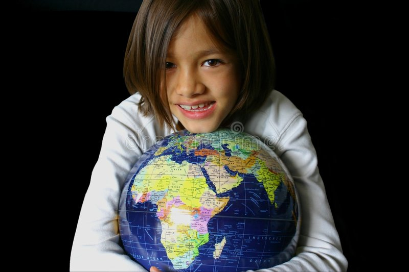 Global Hold 3. Pretty and smiling little girl embracing a globe on black. Fit for global embrace, global hold, global security, young world, world vision, united