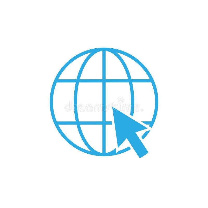 Global icon. Click website icon. Vector illustration flat design royalty free illustration