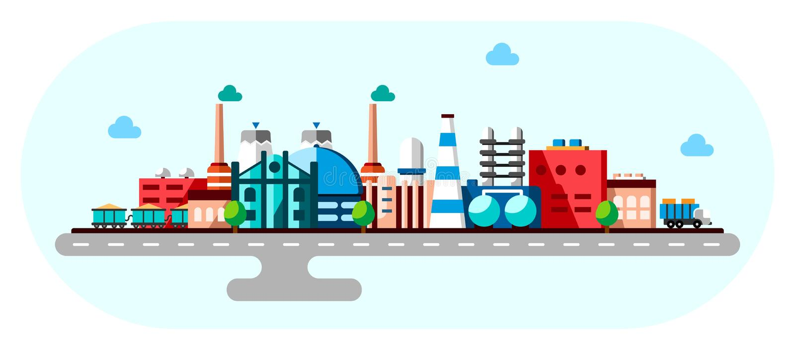 Global industrial factory technology process with ecology concept. Flat illustration of manufacturing buildings. Smart royalty free illustration