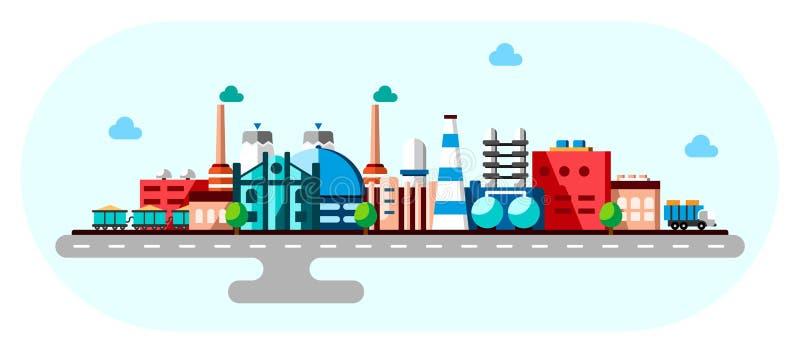 Global industriell fabriksteknologiprocess med ekologibegrepp Plan illustration av fabriks- byggnader smart royaltyfri illustrationer
