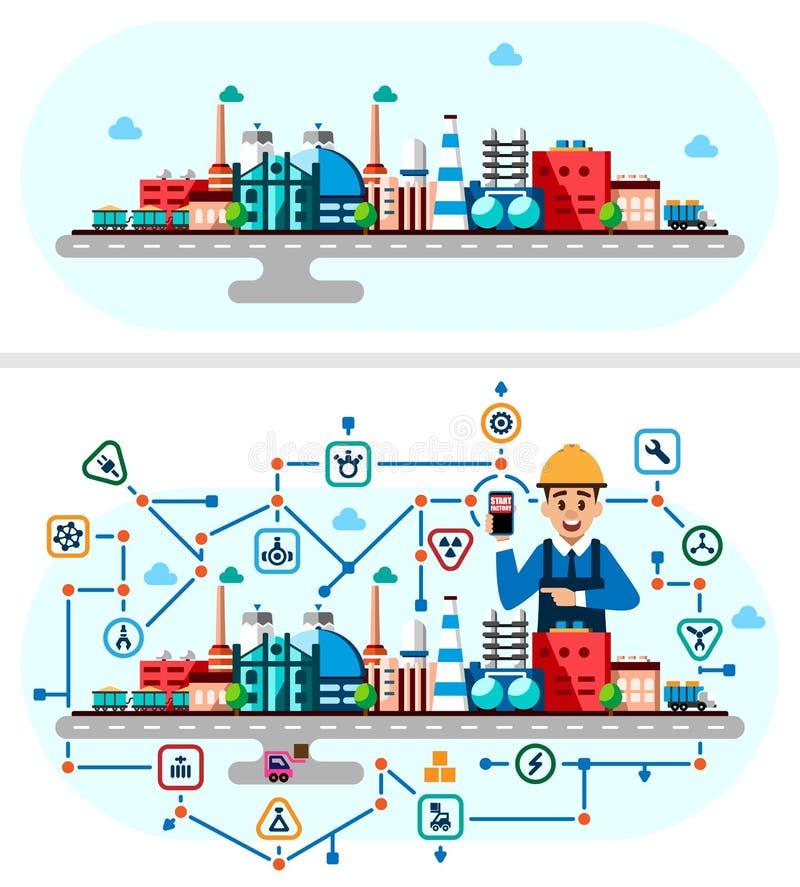 Global industriell fabriksteknologiprocess med ekologibegrepp Plan stilillustration av fabriks- byggnader vektor illustrationer