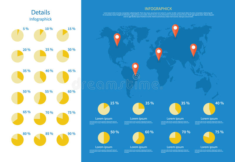 Global Infographics Map and Pie Chart. Infographic elements, world map, world map infographic, infographic icons, global pie chart, world business map royalty free illustration