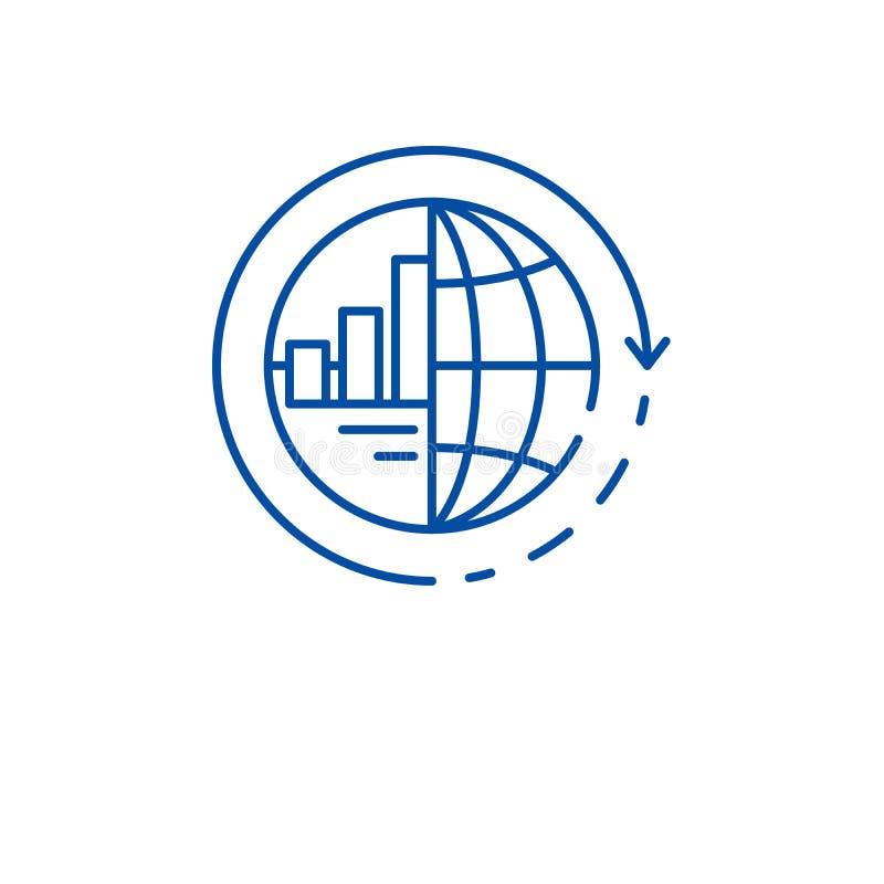 Global integrationslinje symbolsbegrepp Plant vektorsymbol för global integration, tecken, översiktsillustration stock illustrationer