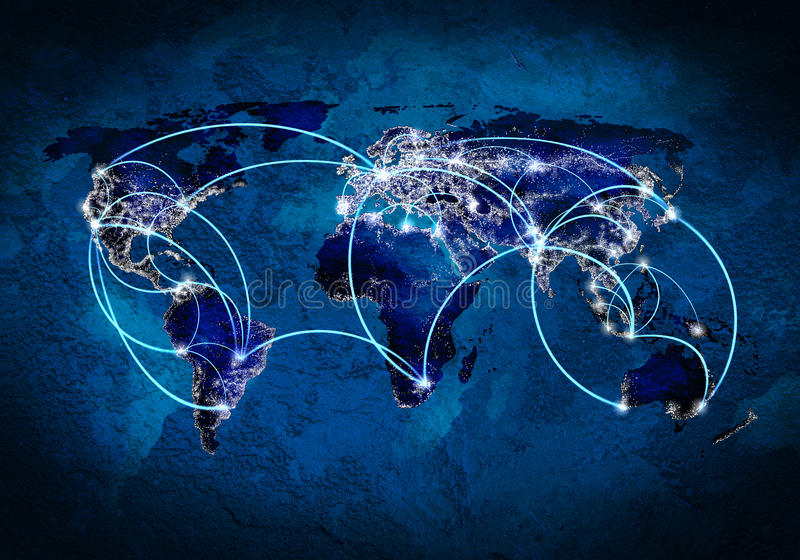 Global interaction. Background image with world map and connection lines stock image