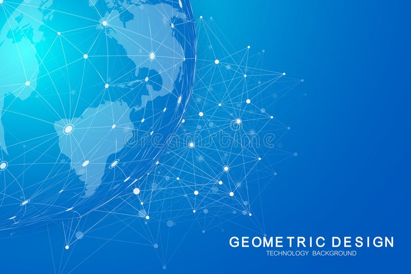 Global international blockchain with World map. Modern future planet space low poly modern future technology finance. Banking design. Abstract polygonal stock illustration