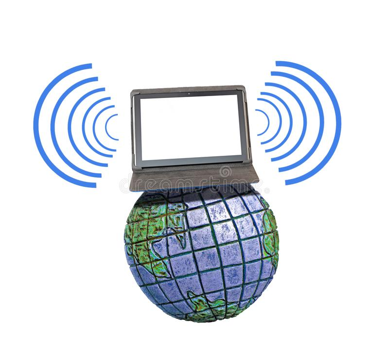 Global international communications network comms. Concept photo of tablet device computer on top of the world communicating with digital network stock photos