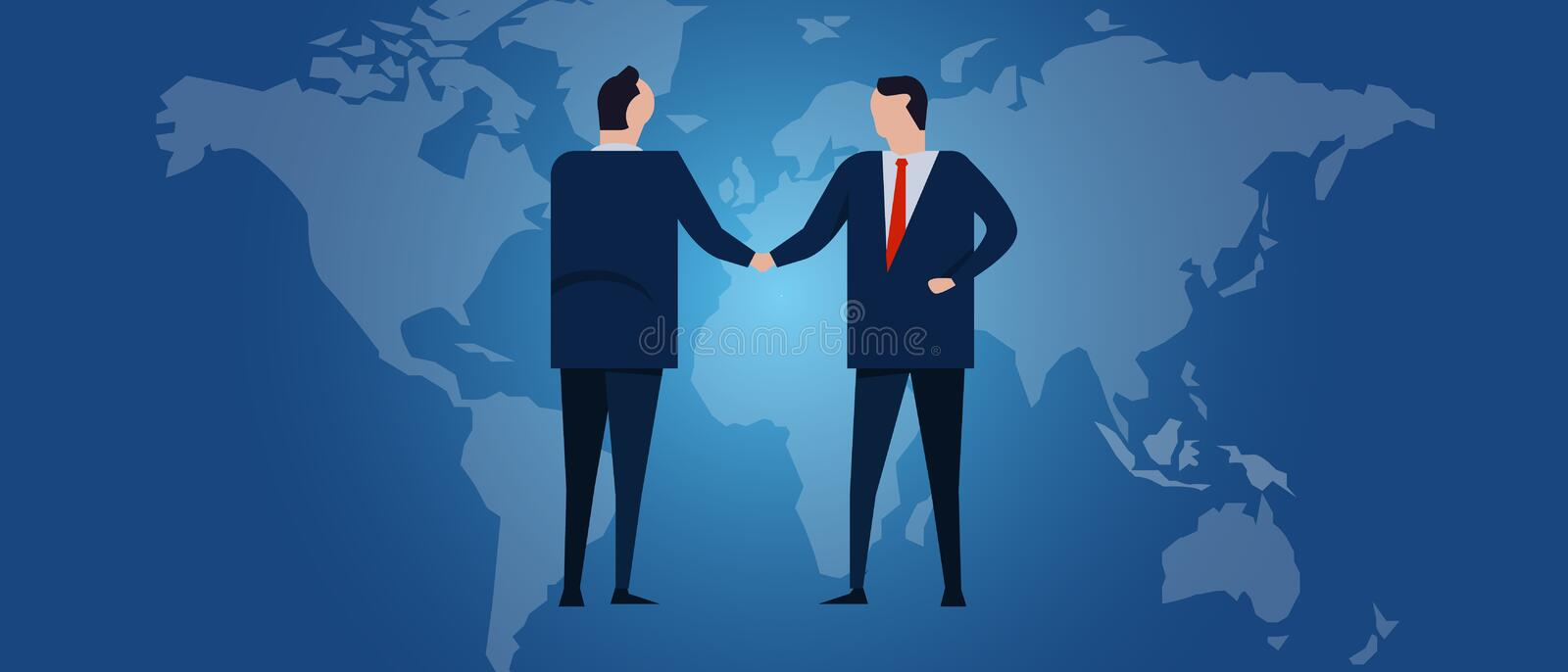 Global international partnership. Diplomacy negotiation. Business relationship agreement handshake. Country flag and map. Corporate world wide business stock illustration