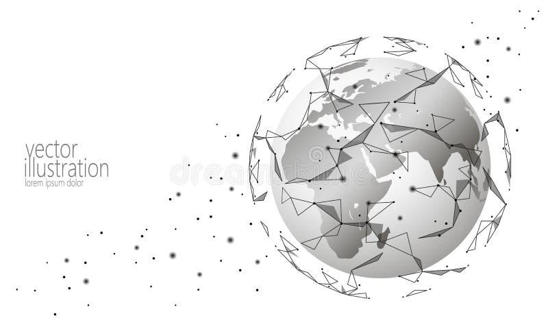 Global internationell för informationsutbyte om anslutning cryptocurrency för blockchain Låg poly framtida teknologi för planetut stock illustrationer