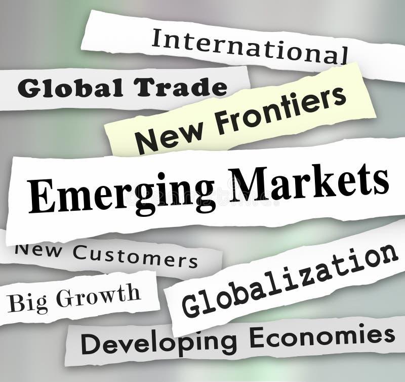Global internationell tillväxt för tillväxtmarknadtidningsrubriker stock illustrationer