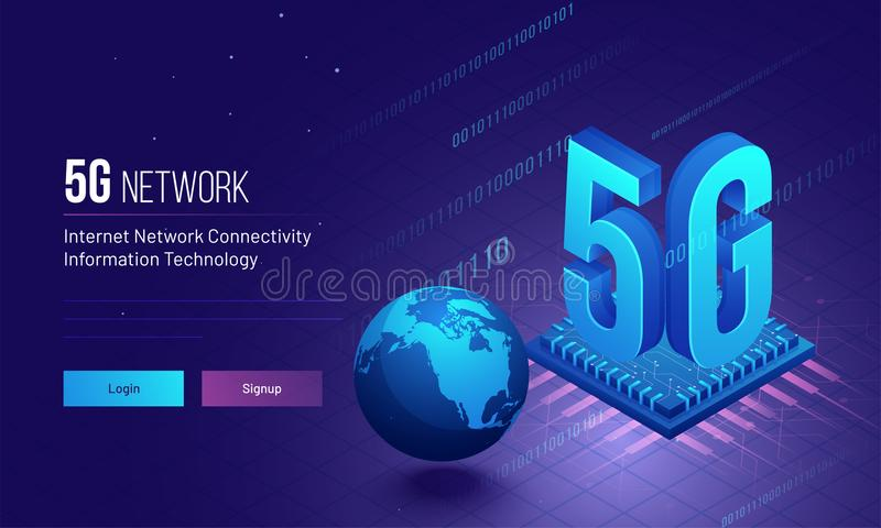 Global Internet 5G Network Connectivity concept based responsive. Landing page design with binary coding and processor chip illustration stock illustration