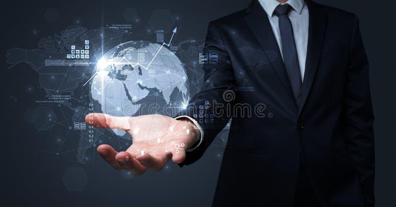 Global internet using concept with businessman. Businessman handing transparent global information flow concept on his hand royalty free illustration