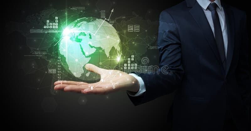 Global internet using concept with businessman. Businessman handing transparent global information flow concept on his hand stock illustration
