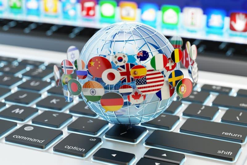 Global internetkommunikation, online-messaging och översättningsbegrepp royaltyfri illustrationer