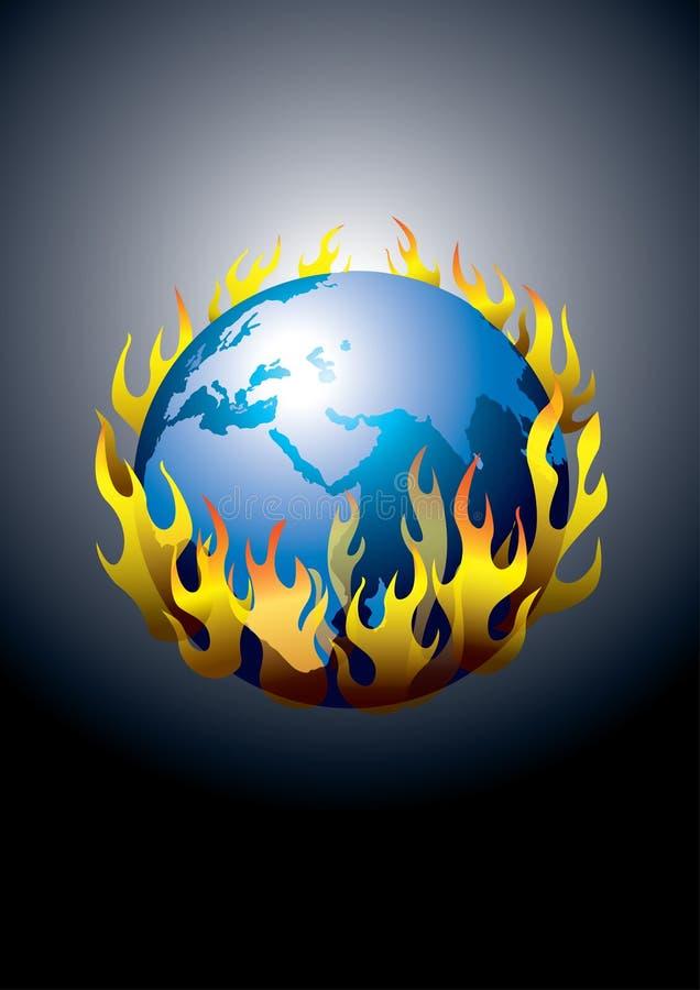 global jord sparar värme royaltyfri illustrationer