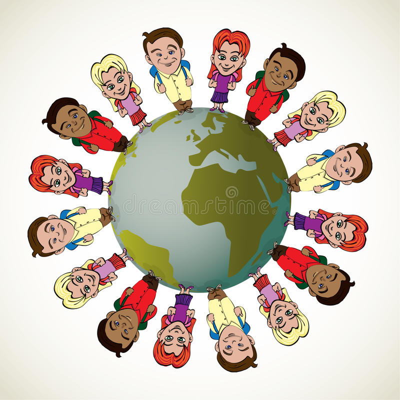 Global kids vector illustration