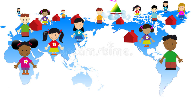 Global kids stock illustration