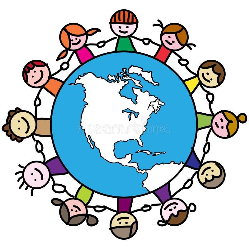 Globe kids royalty free illustration