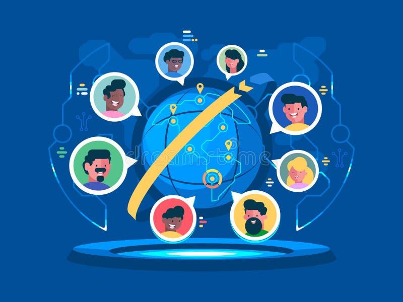 Global kommunikation över hela världen vektor illustrationer