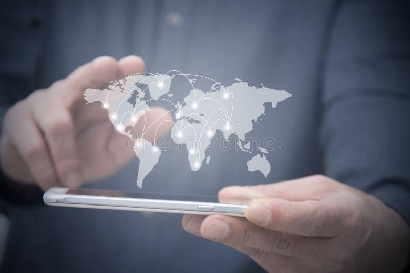Global kommunikationer och teknologiskt royaltyfri fotografi