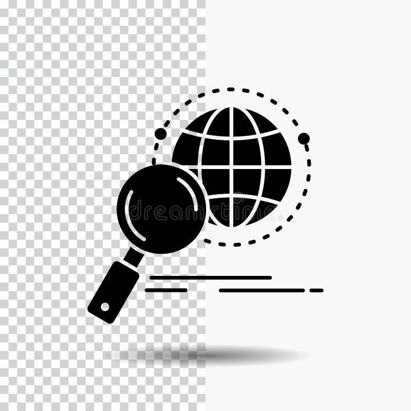 global, Kugel, Vergrößerungsglas, Forschung, Weltglyph-Ikone auf transparentem Hintergrund Schwarze Ikone stock abbildung